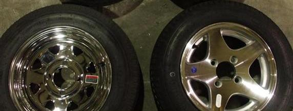 Chrome (On Left) And Aluminum (On Right) Optional Wheel Assemblies 12 Inch Rims