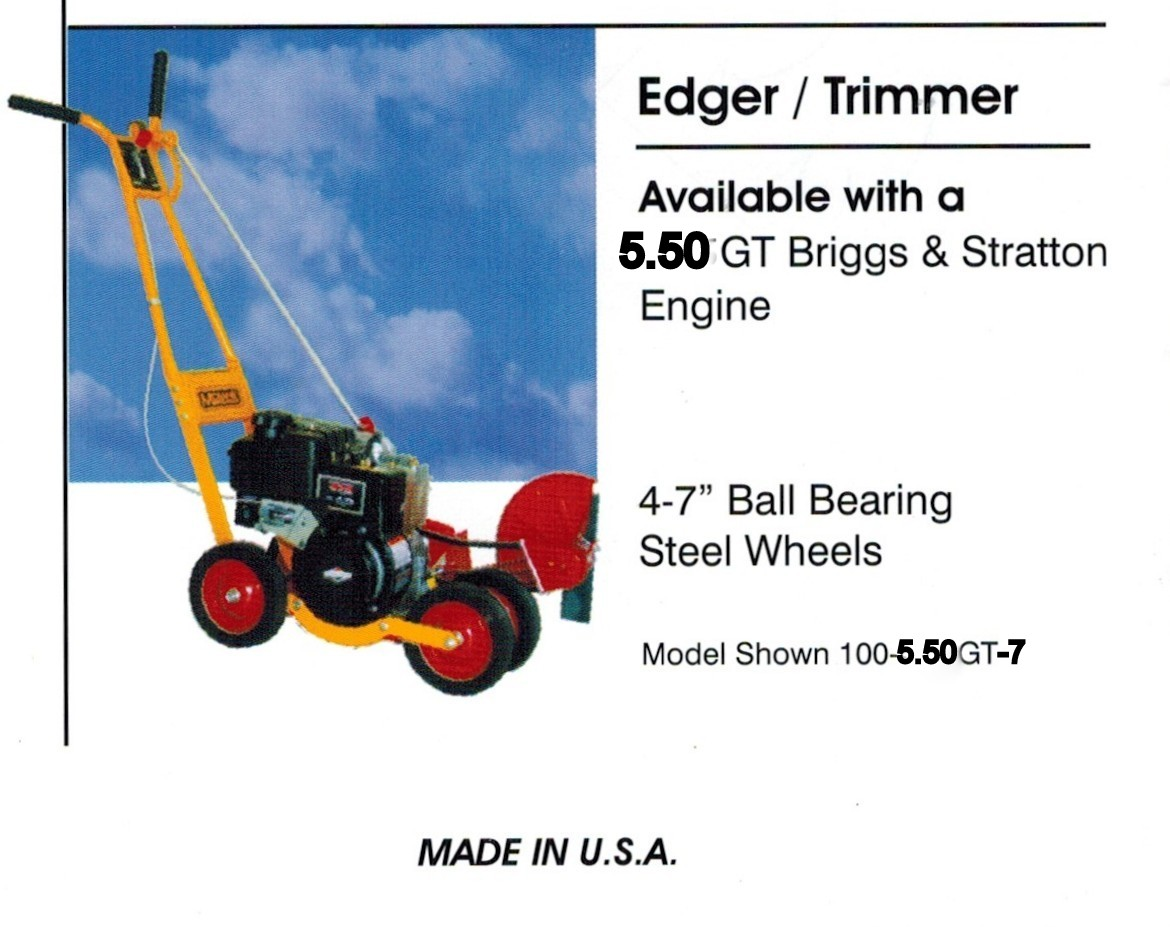Trim-N-Edger gas powered edger/trimmer with four 7 inch steel wheels and a 5.50 Gross Torque Briggs And Stratton Engine
