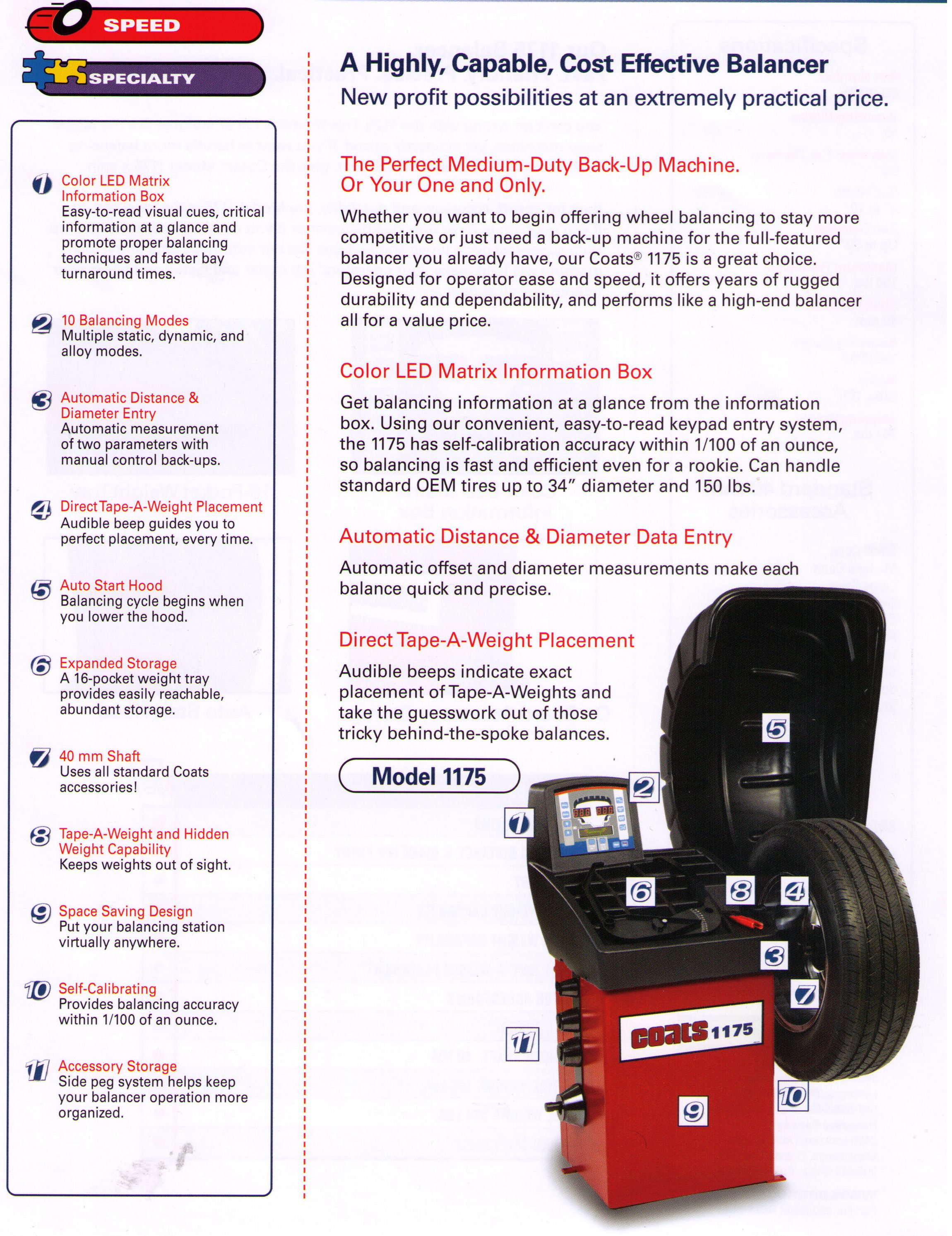 Specifications Model 1175 Coats Automotive Wheel Balancer