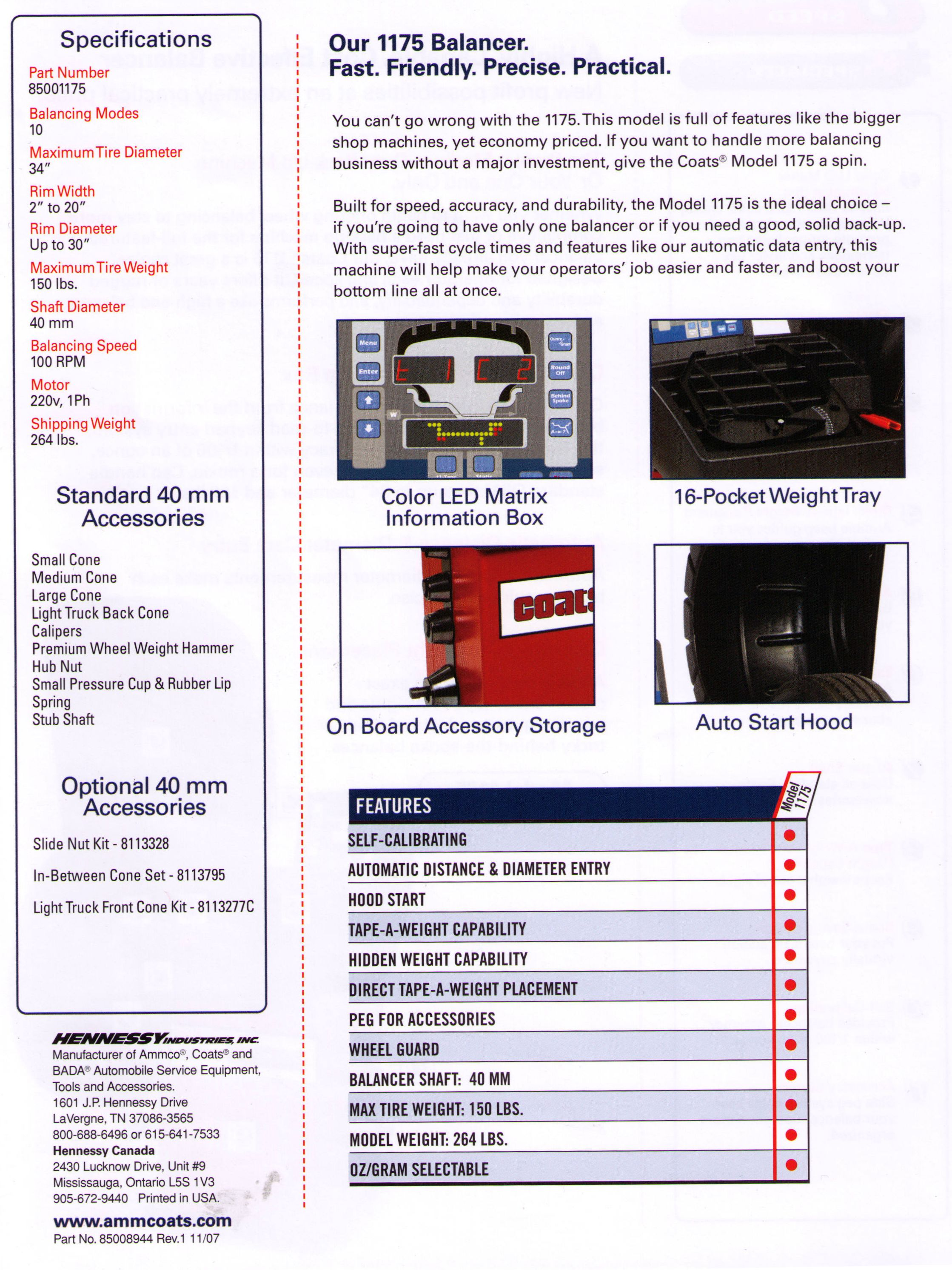 Features And Specifications Model 1175 Electronic Automotive Wheel Balancer