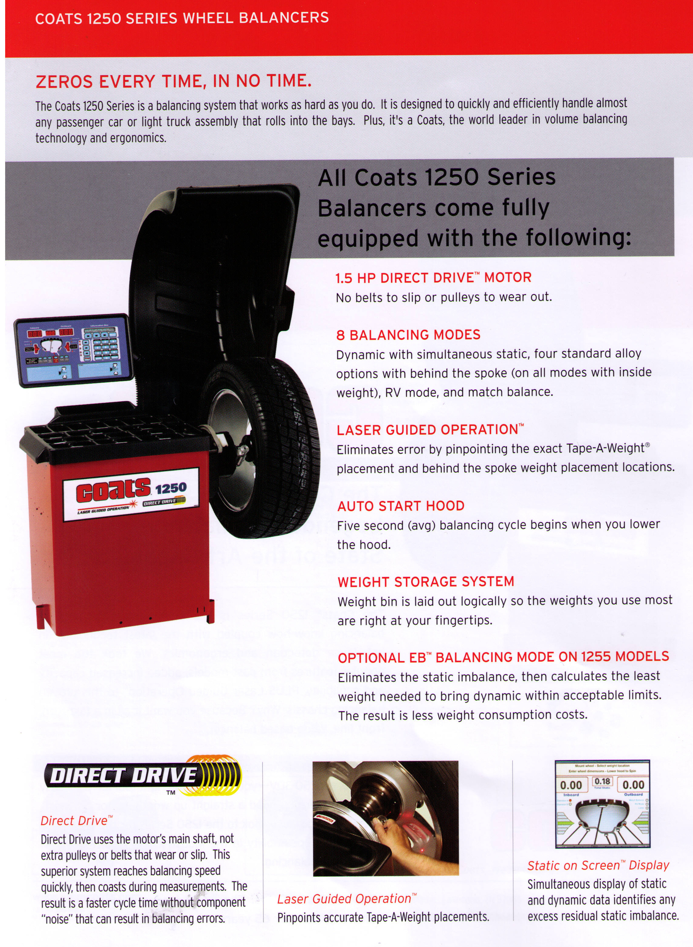 Features Coats 1250 Series Electronic Direct Drive Automotive And Light Truck Wheel Balancers