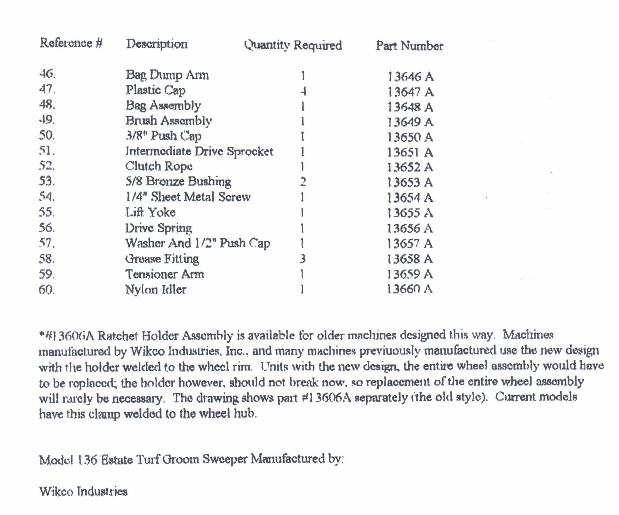 Parts List For Model 136 Sweeper