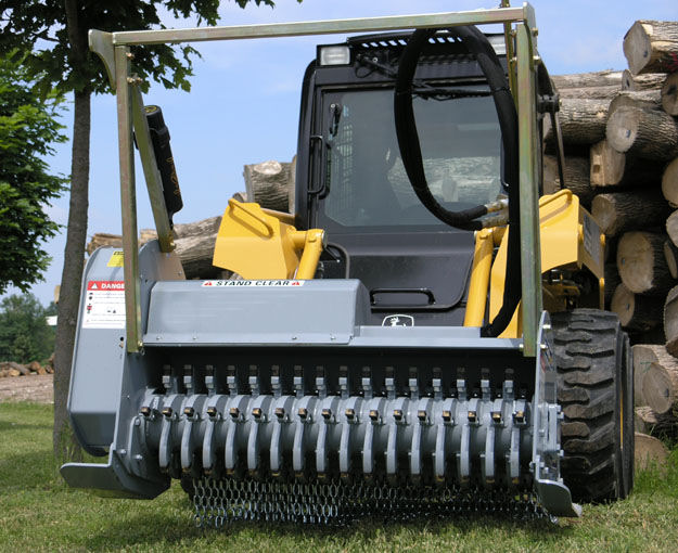 Skid Steer Mount And Escavator Mount Hydraulic Powered Brush Mulcher - Front View, Shown With Brush Guard