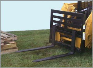 Skid Steer mounted pallet forks, rail style with 4,000 lb. capacity