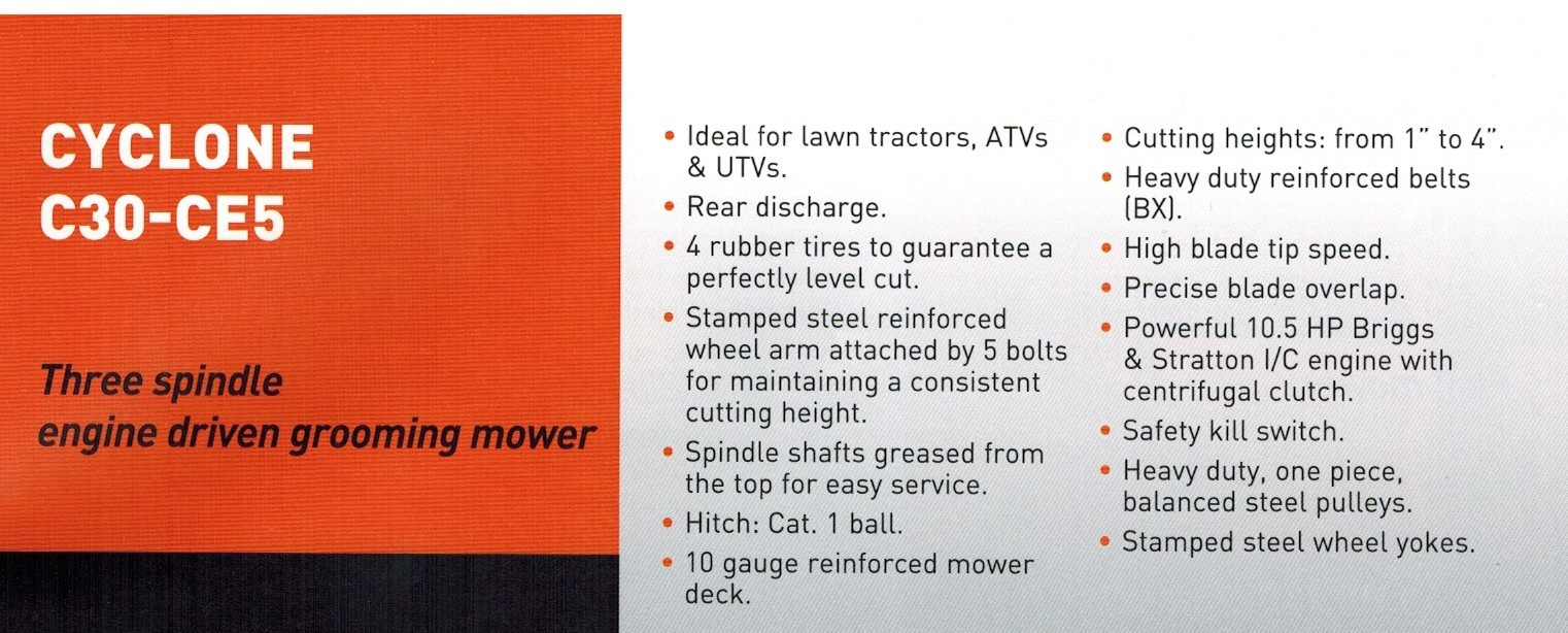 Information and Features Befco C30-CE5H Engine Powered ATV Mower