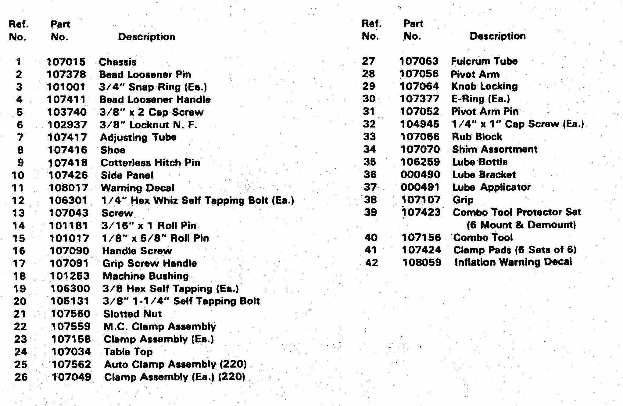 Parts List Coats 200 And 220 Motorcycle Tire Changers