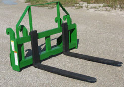 Pallet Fork Carriages For Mounting On John Deere Loaders Models H480 With Global Series II Tool Carrier