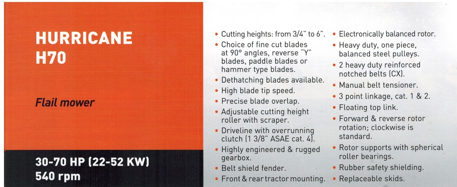 H70 Flail Mower Specifications And Features