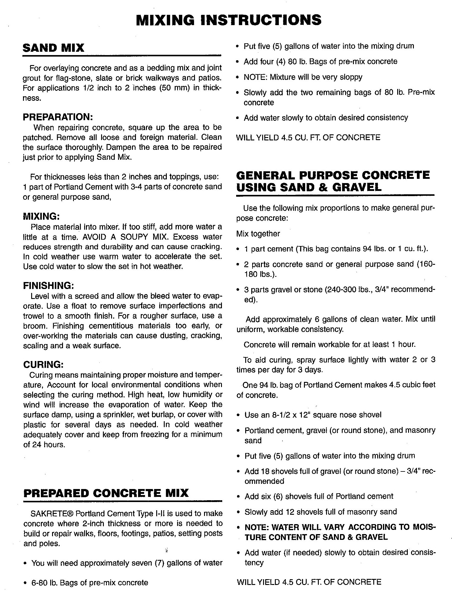 SS-590 Mixing Instructions
