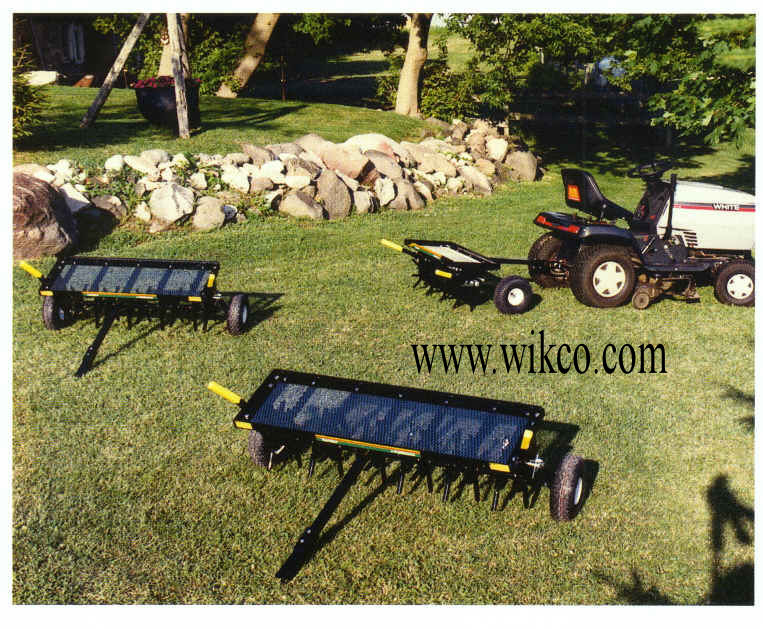 TurfVent Aerators Available In Tow Behind And Three Point Hitch Models In Widths Of 32, 40, and 48 Inches, Commercial Grade Models, Made In USA