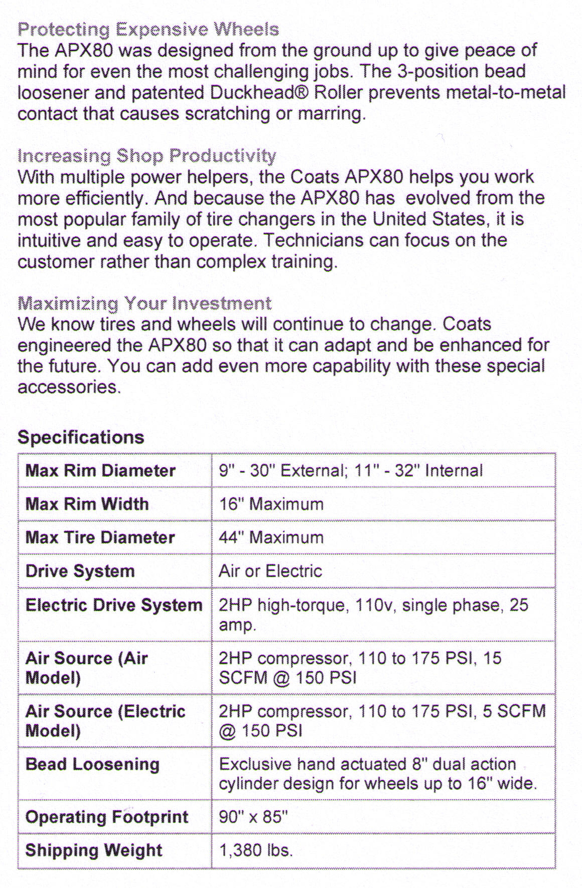Features/Specifications Coats APX80 Rim Clamp Tire Changer With Power Helpers