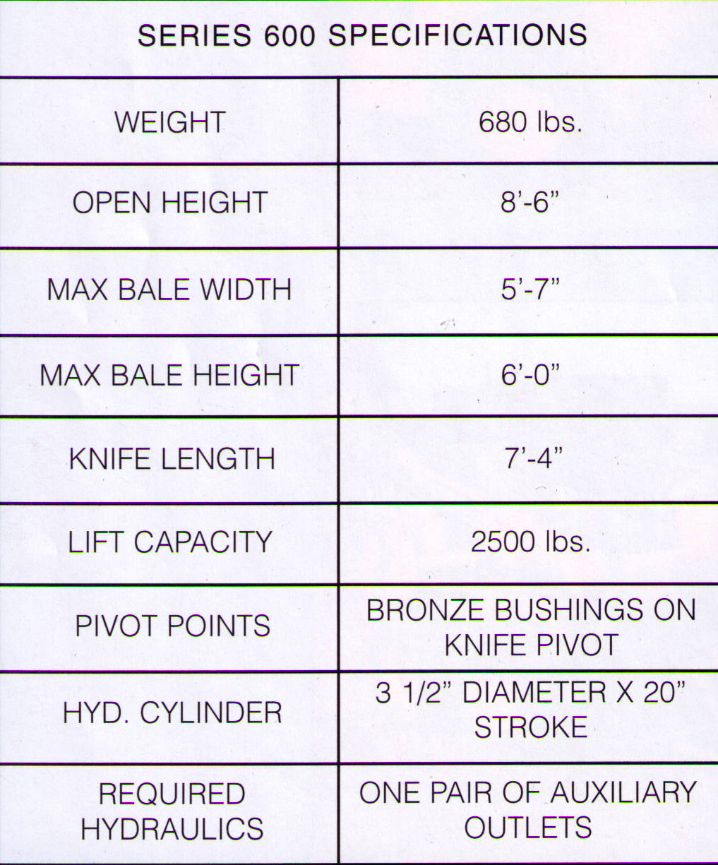 Specifications For Model 600-30 Bale Slicer