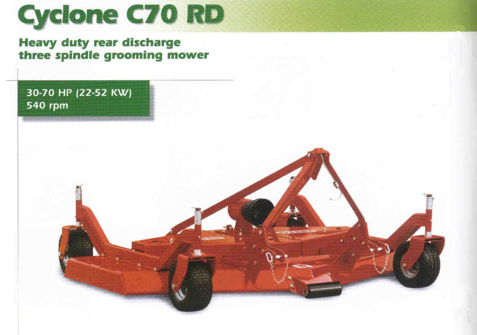 Cyclone C70 Rear Discharge Finishing Mower - Front view