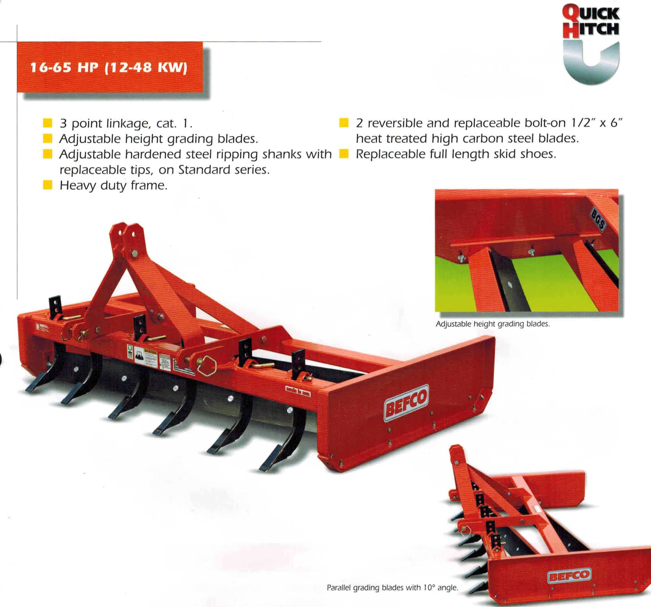 Tractor Mounted Grading Scraper For Tractors 16 To 65 HP