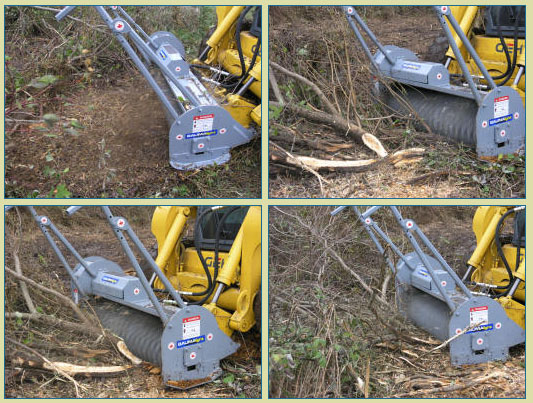Multiple Views Skid Steer Loader Mounted And Escavator Mounted Hydraulic Powered Brush Mulcher