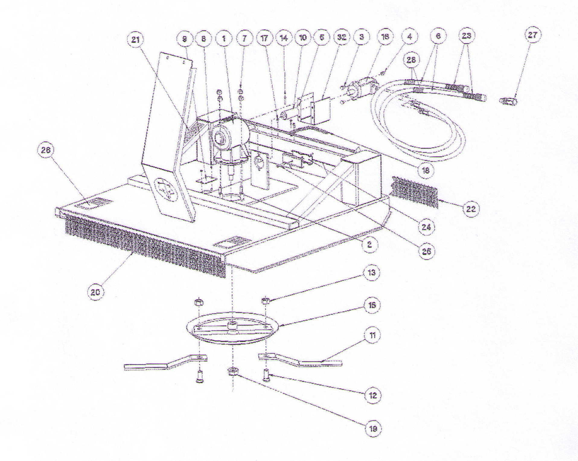 Parts Diagram Single Spindle Models (Up Through 7800 Models)