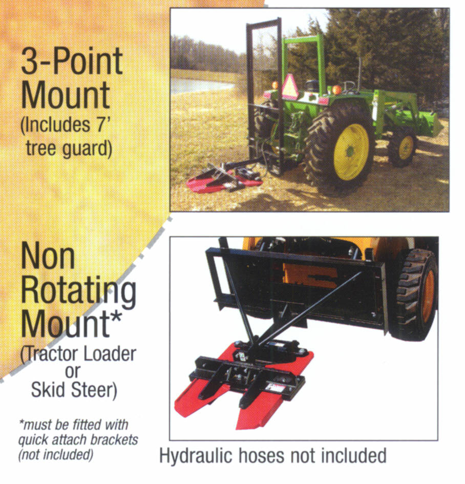 Mount With Short Boom To Skid Steers And Tractor Three Point Hitches