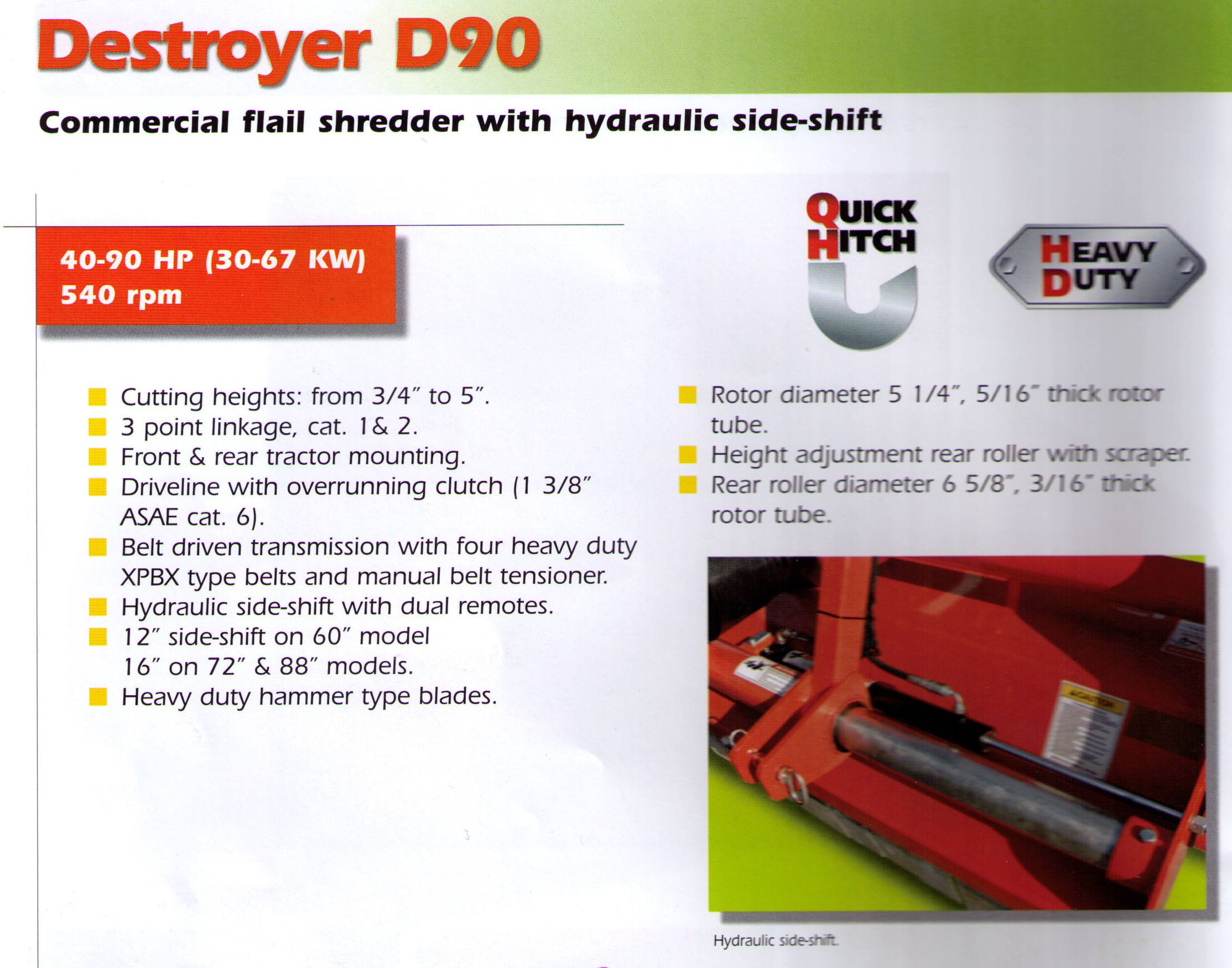 Specifications Befco Destroyer D90 Commercial Flail Stredder With Hydraulic Side Shift