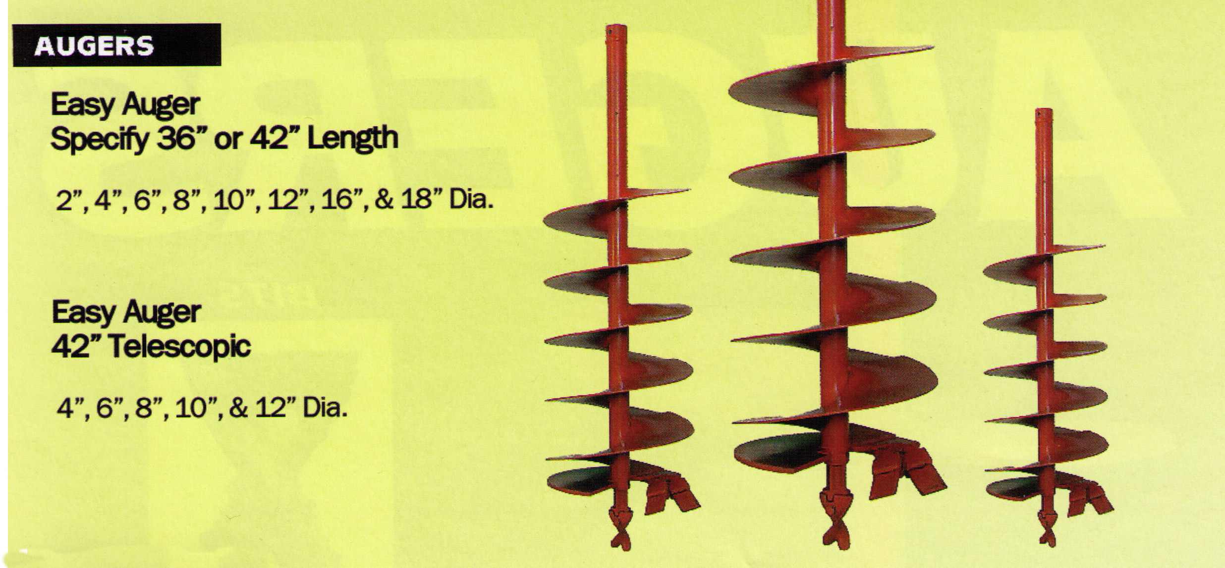 Available Earth Auger Bits