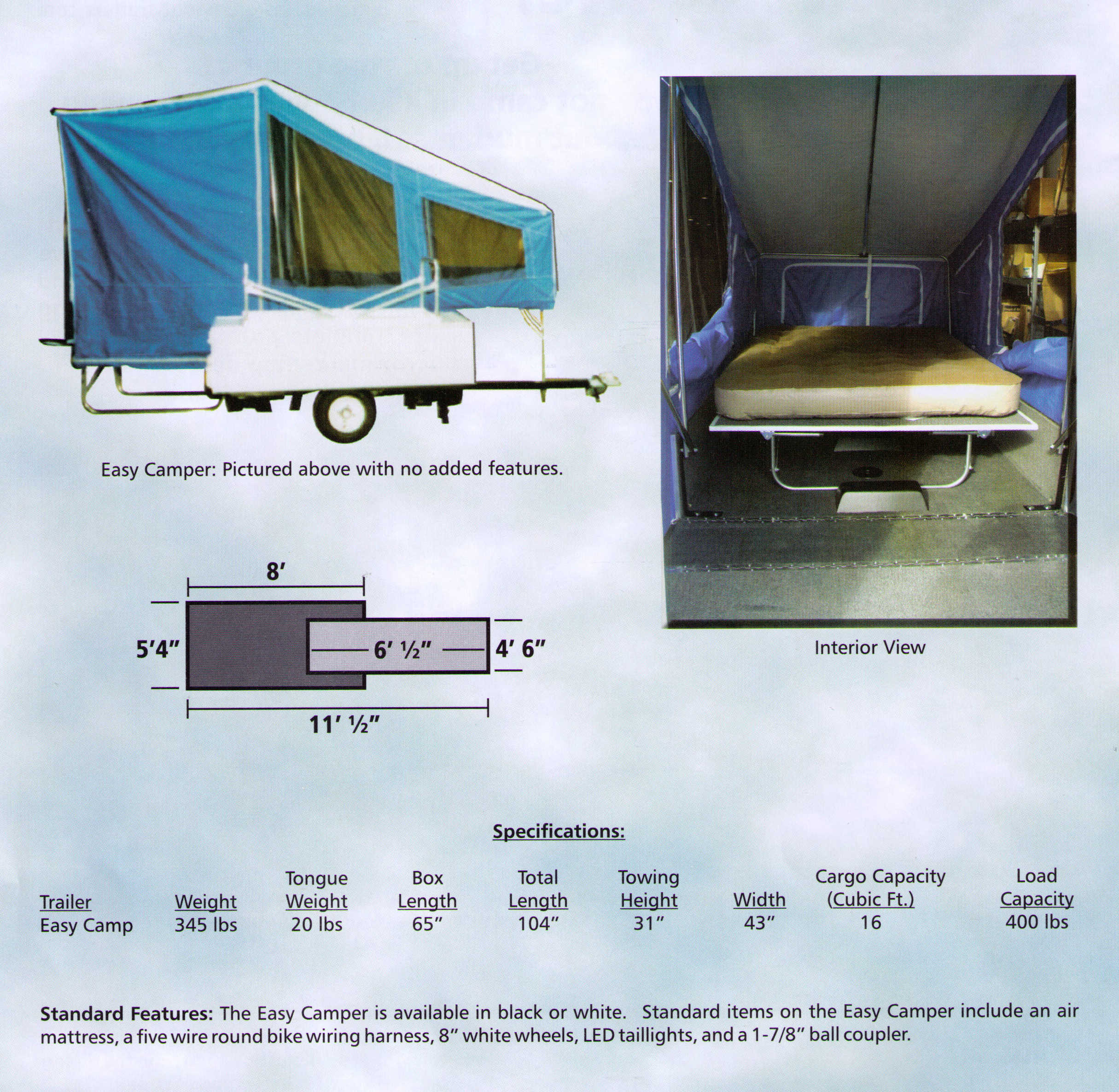 Specifications On The Easy Camper Model