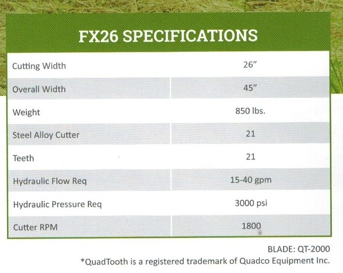 FX26 Defender Forestry Mulcher Specifications