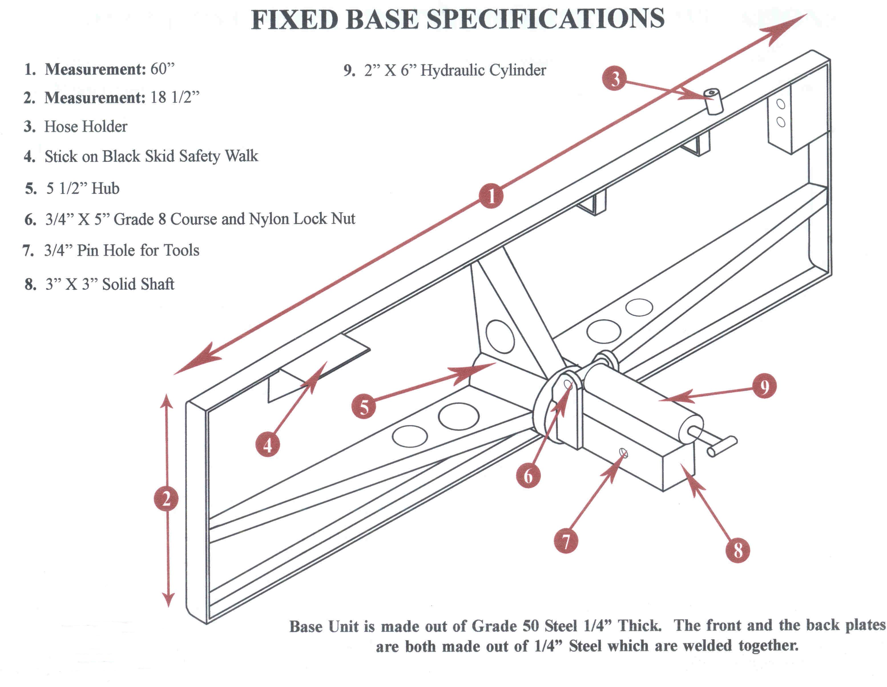 Specifications On Fixed Base Plate
