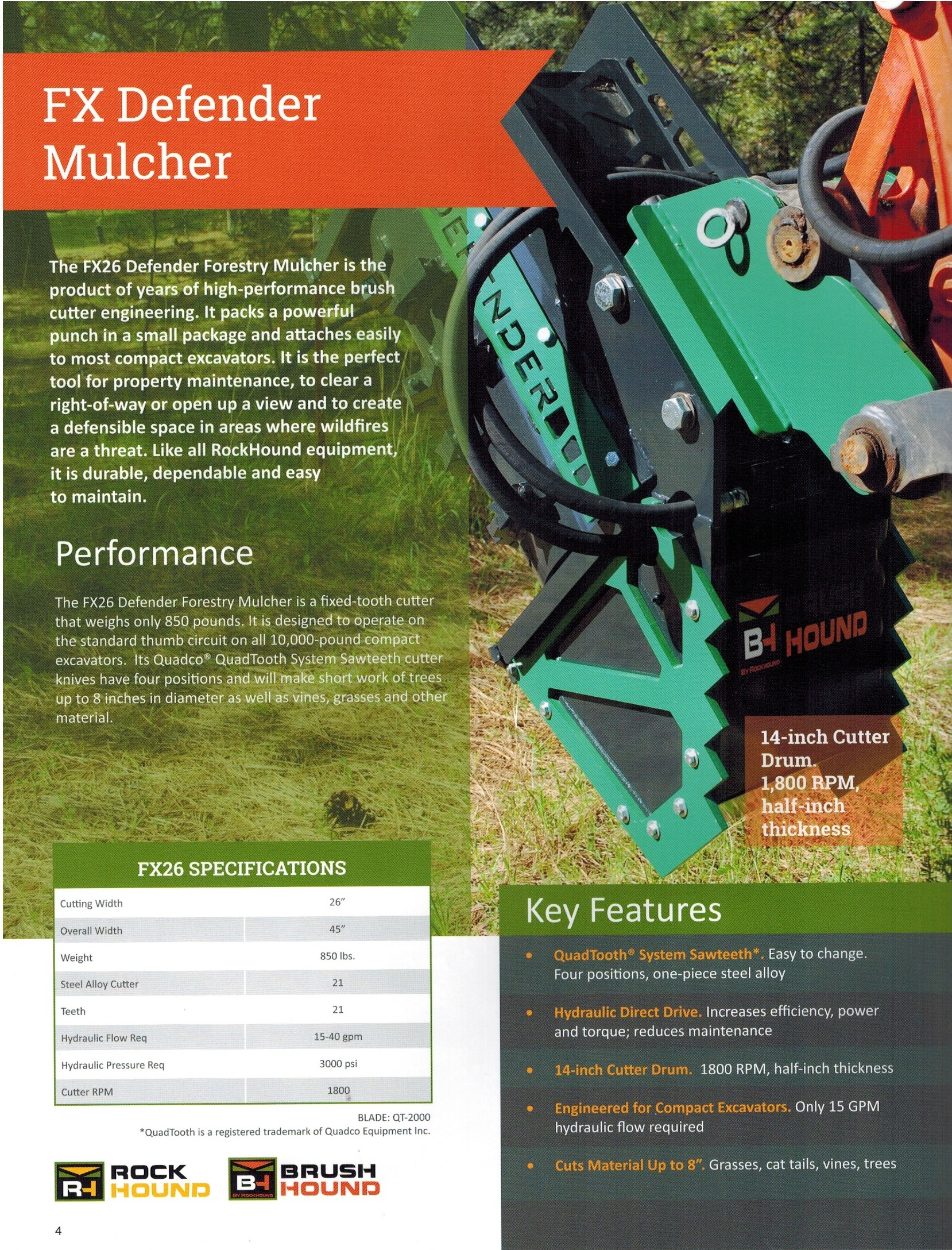 Features/Specifications FX Defender Mulcher