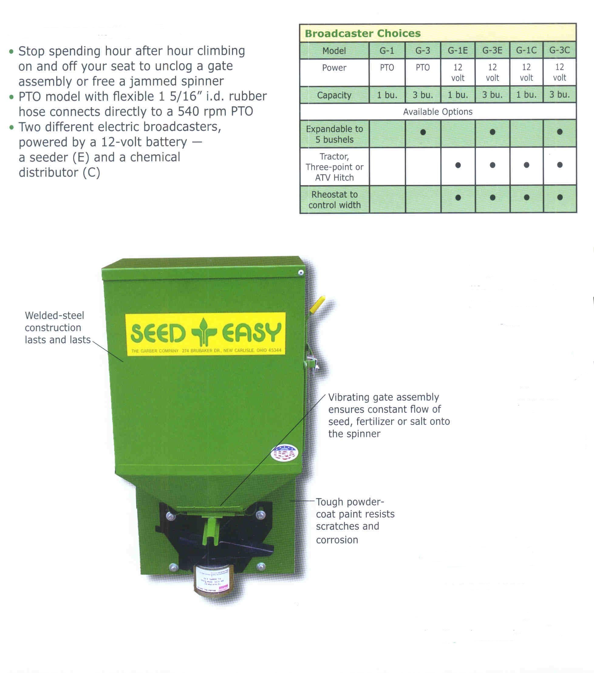 Specifications Easy Seed Broadcast Spreader