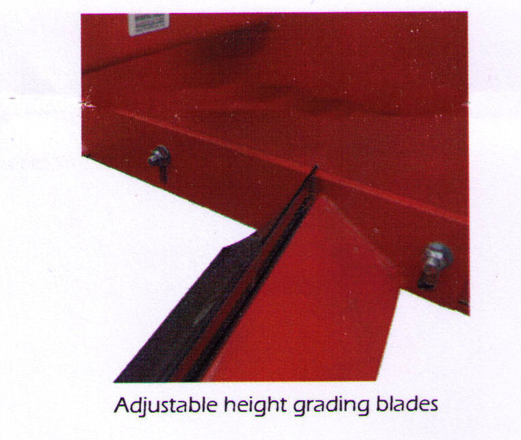 Adjustable height grading blades