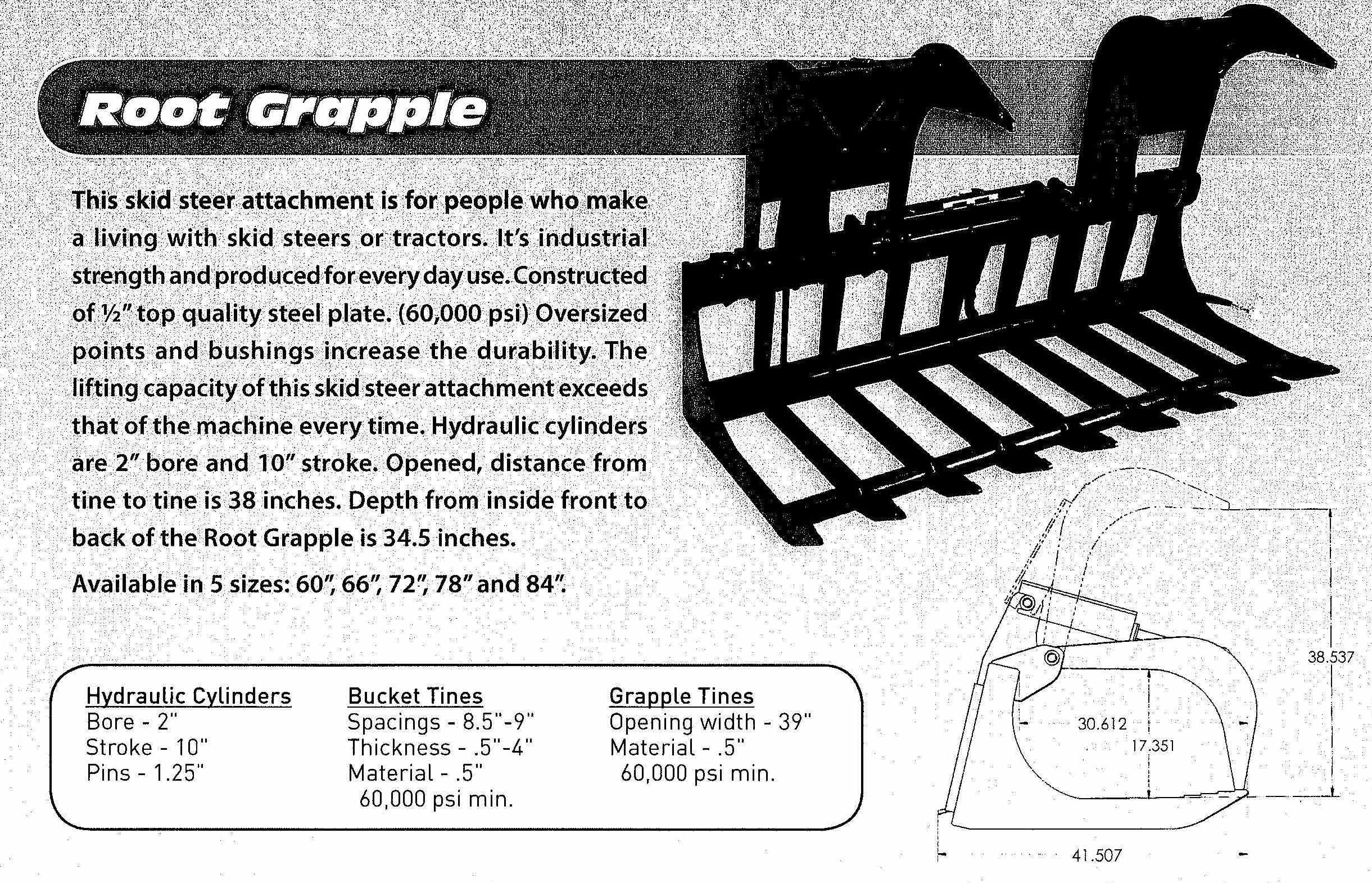 Standard Root Grapple For Skid Loaders Up To 75 HP