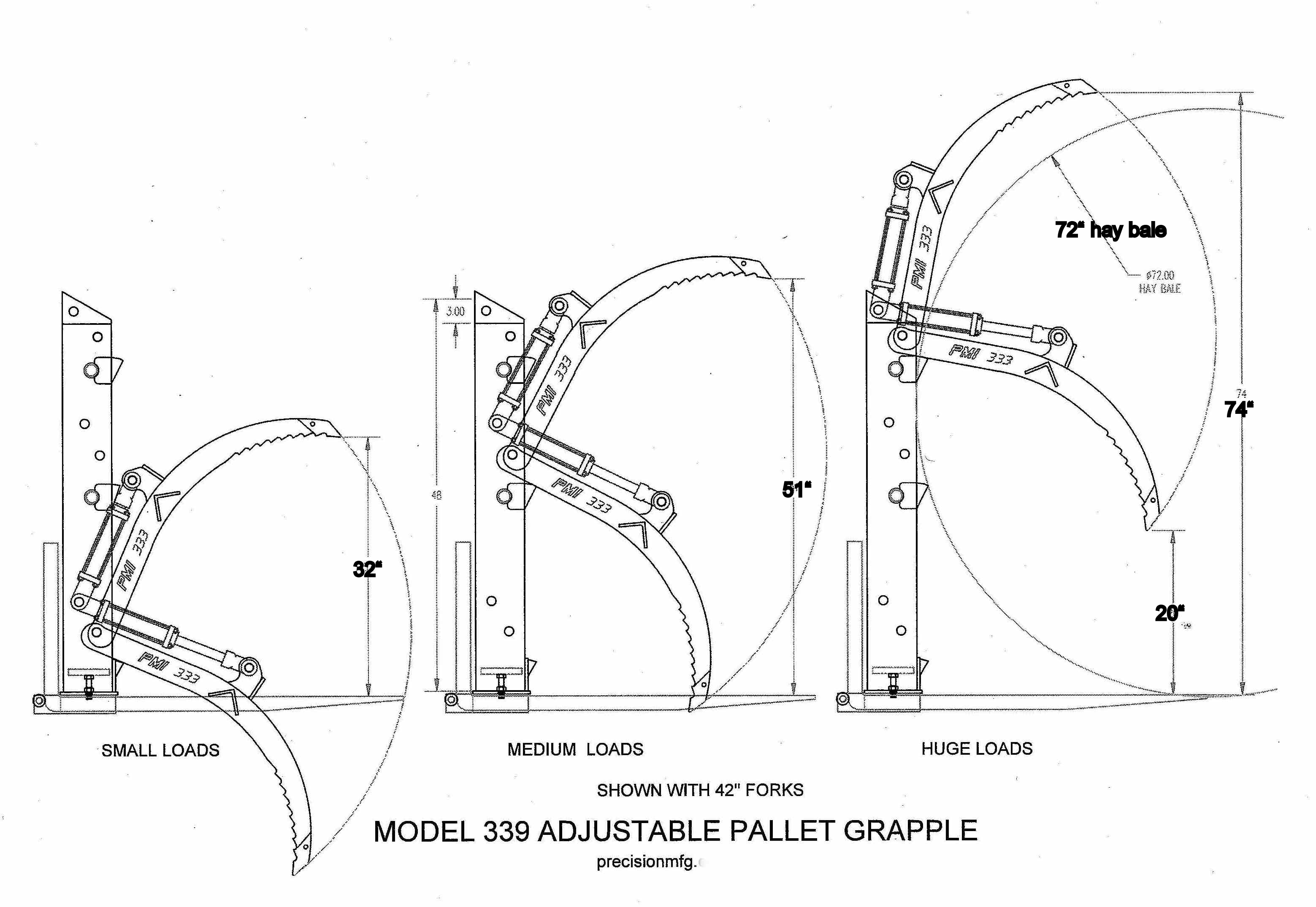 Grapple Positions Model 339 Adjustable Pallet Fork Grapple