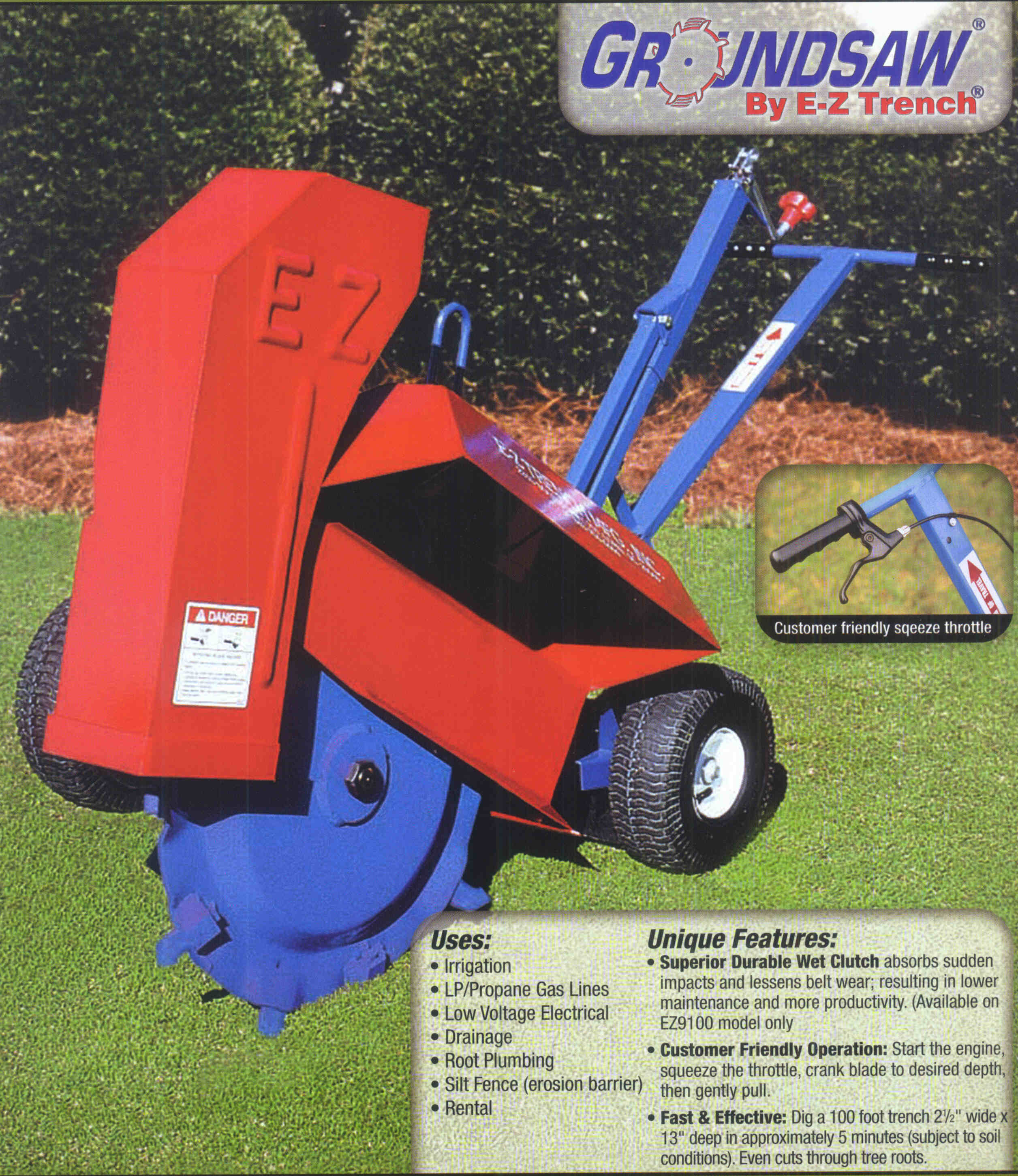 Groundsaw Trenching Machine For Narrow Trenches (2.5 inches wide up to 13 inches deep, and for cutting tree roots)