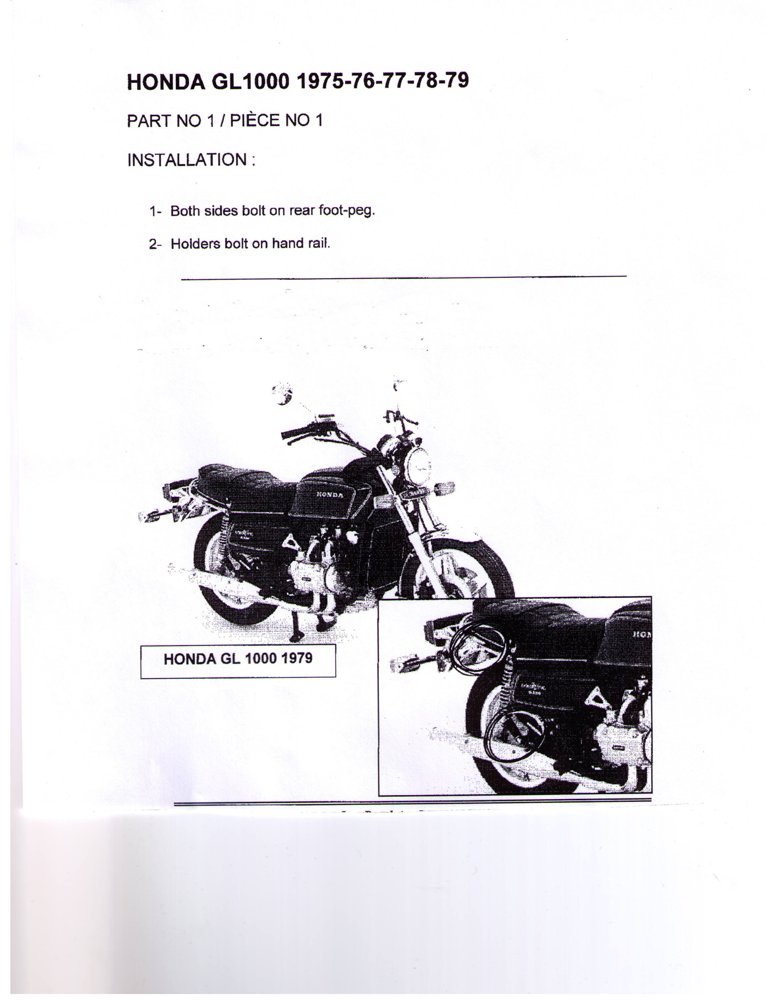 Installation Instructions Hitch 1 Honda GL1000