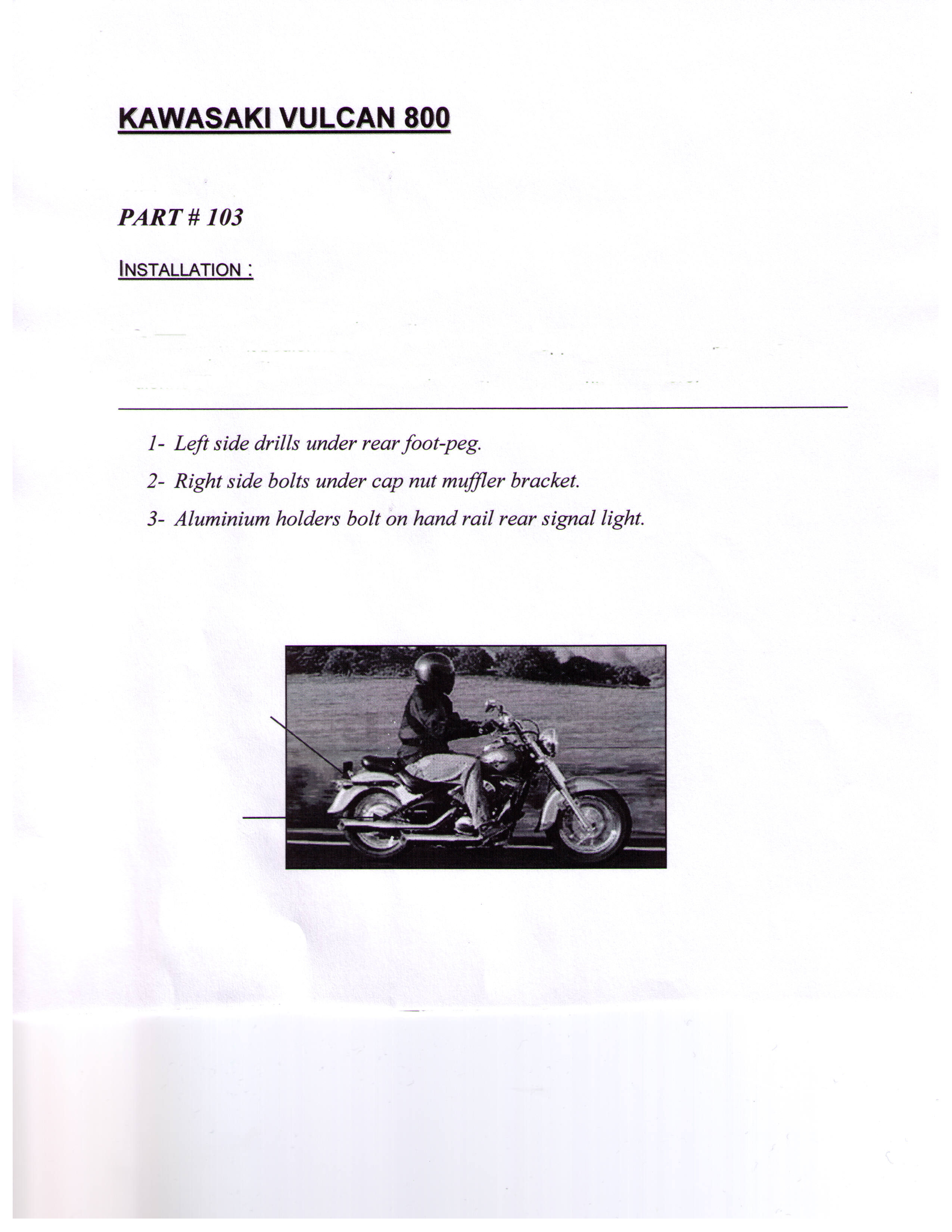 Installation Instructions Hitch Kawasaki Vulcan 800