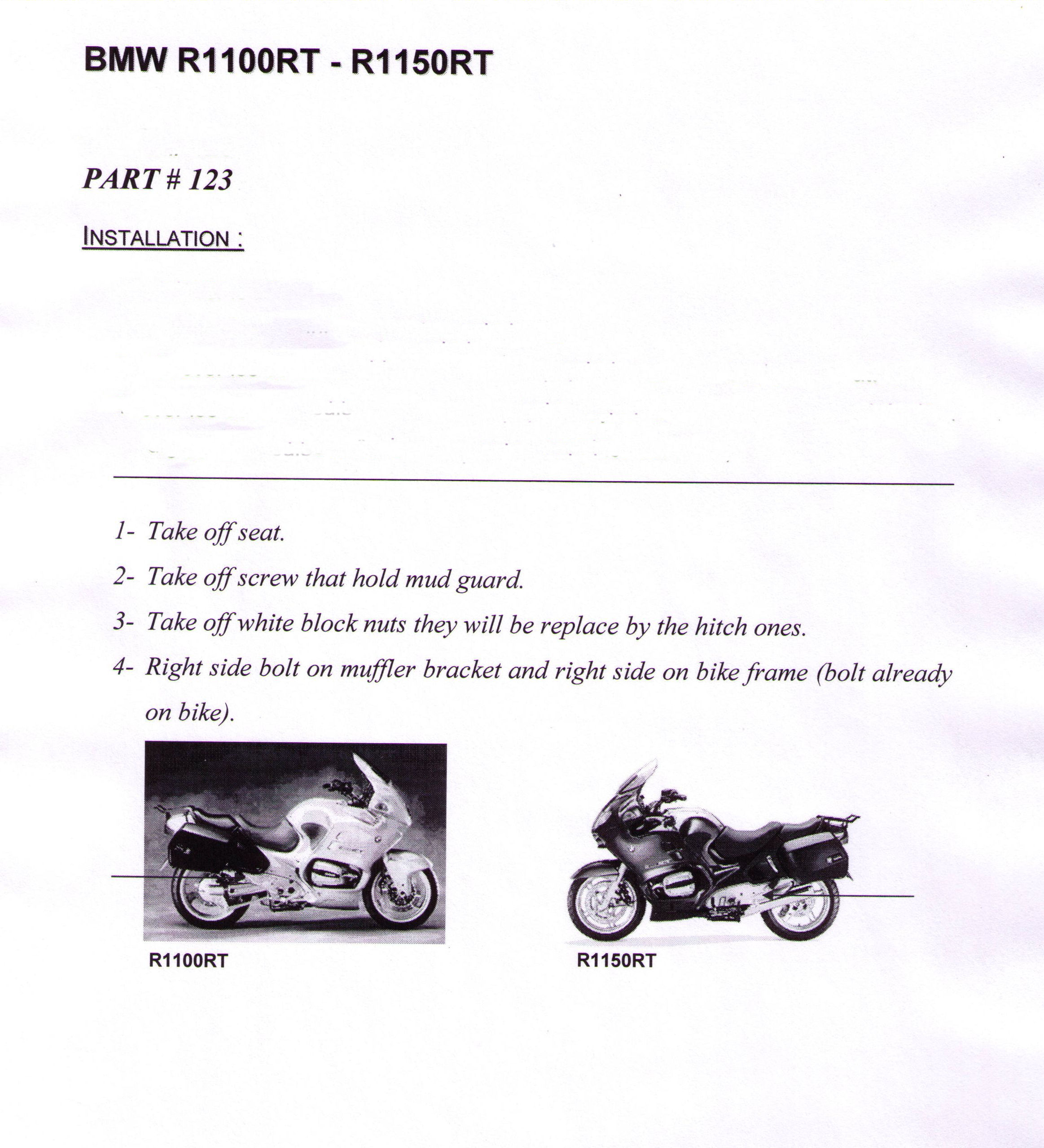 Page 1 Installation Instructions BMW 1100RT And 1150RT