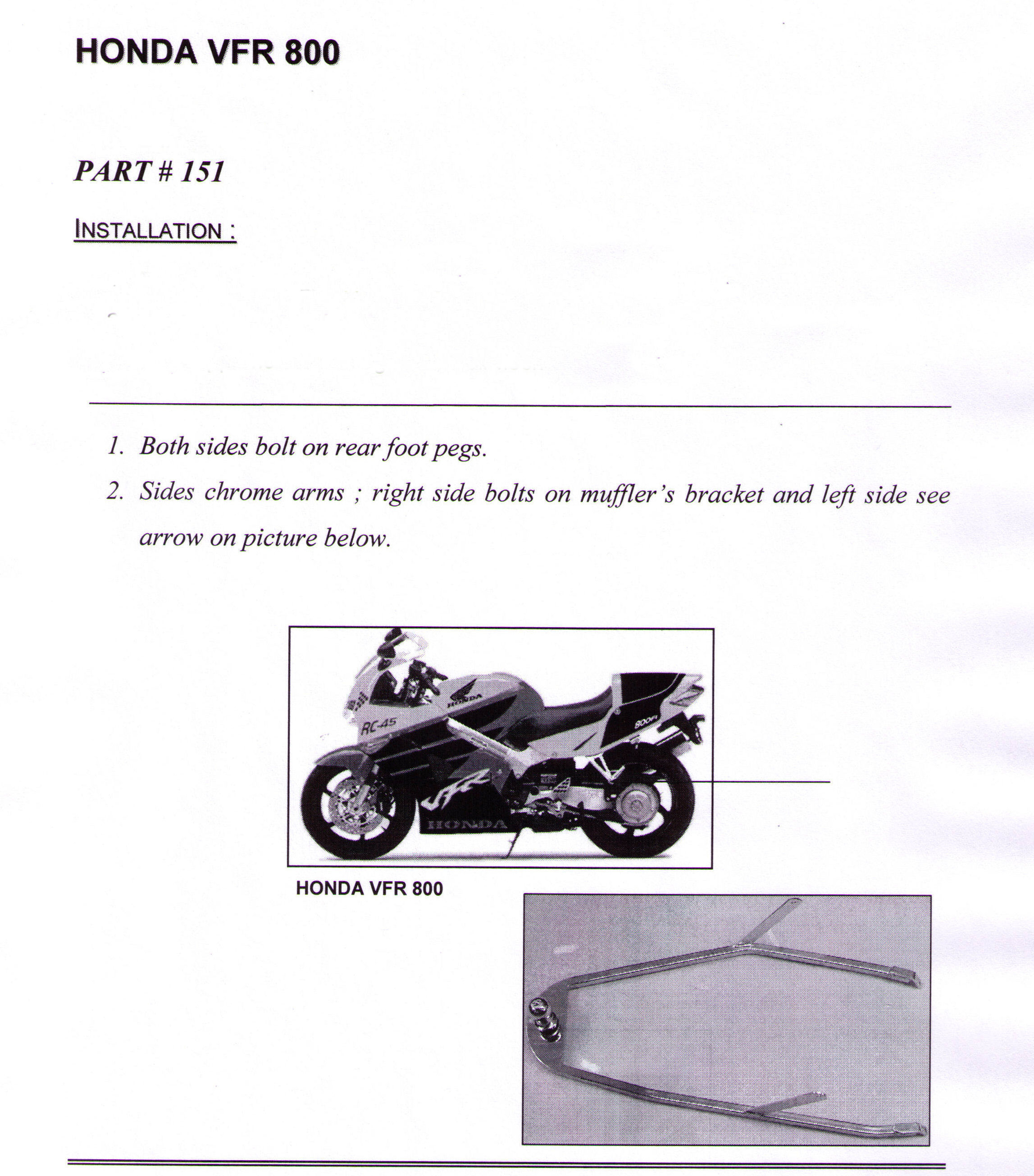 Installation Instructions Honda VFR 800