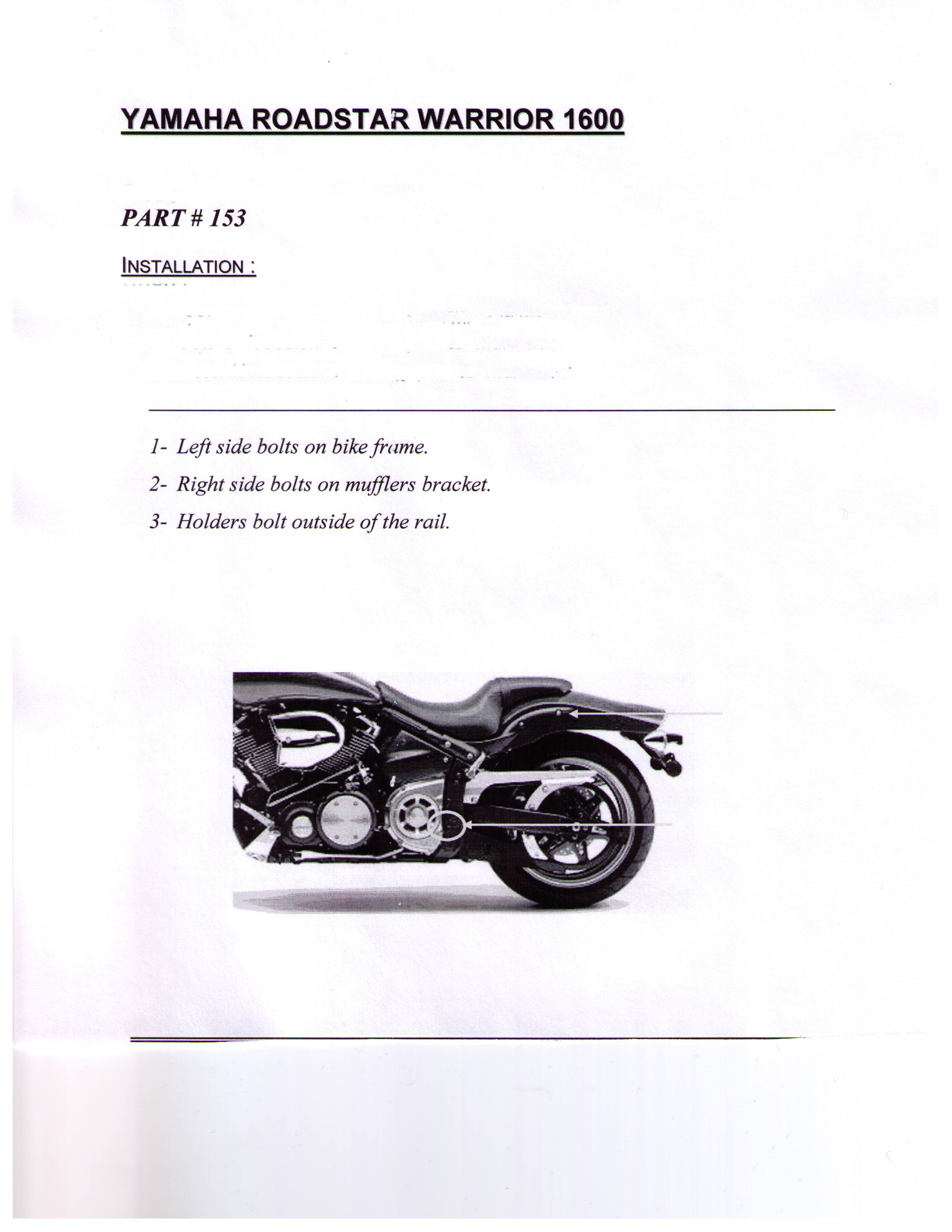 Installation Instructions Yamaha Roadstar 1600