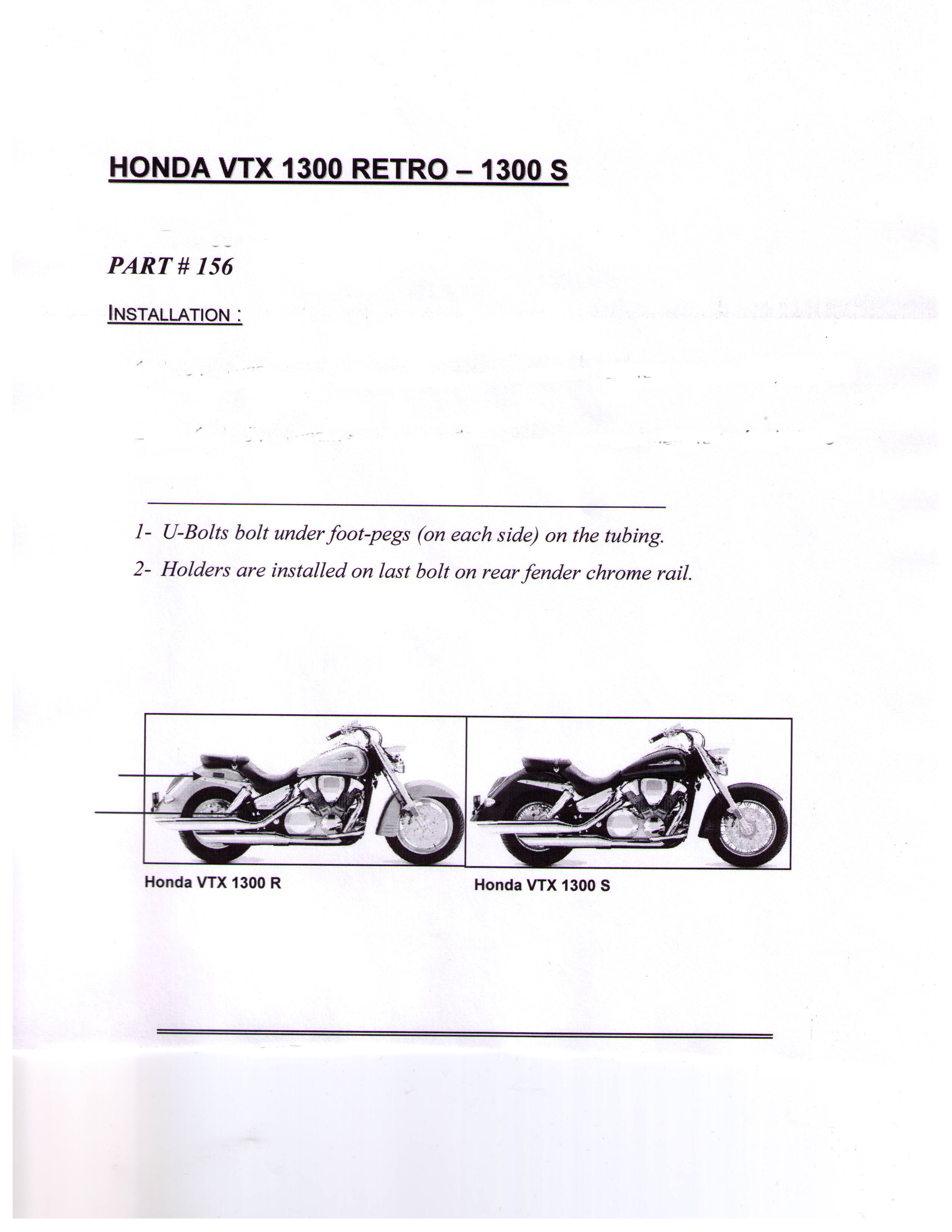 Installation Instructions Honda VTX 1300 Retro