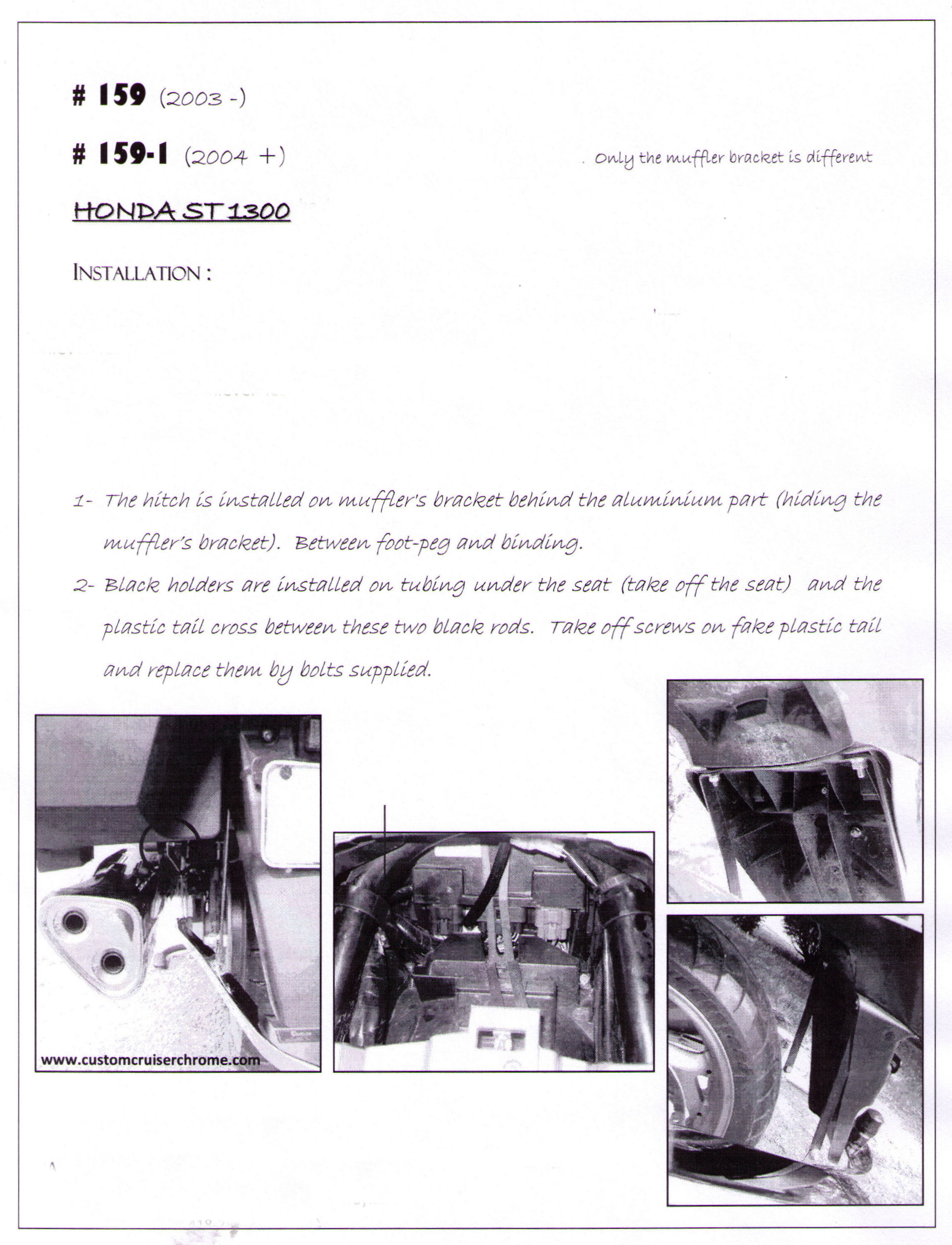 Installation Instructions Hitch 159 And 159-1 For Honda ST1300