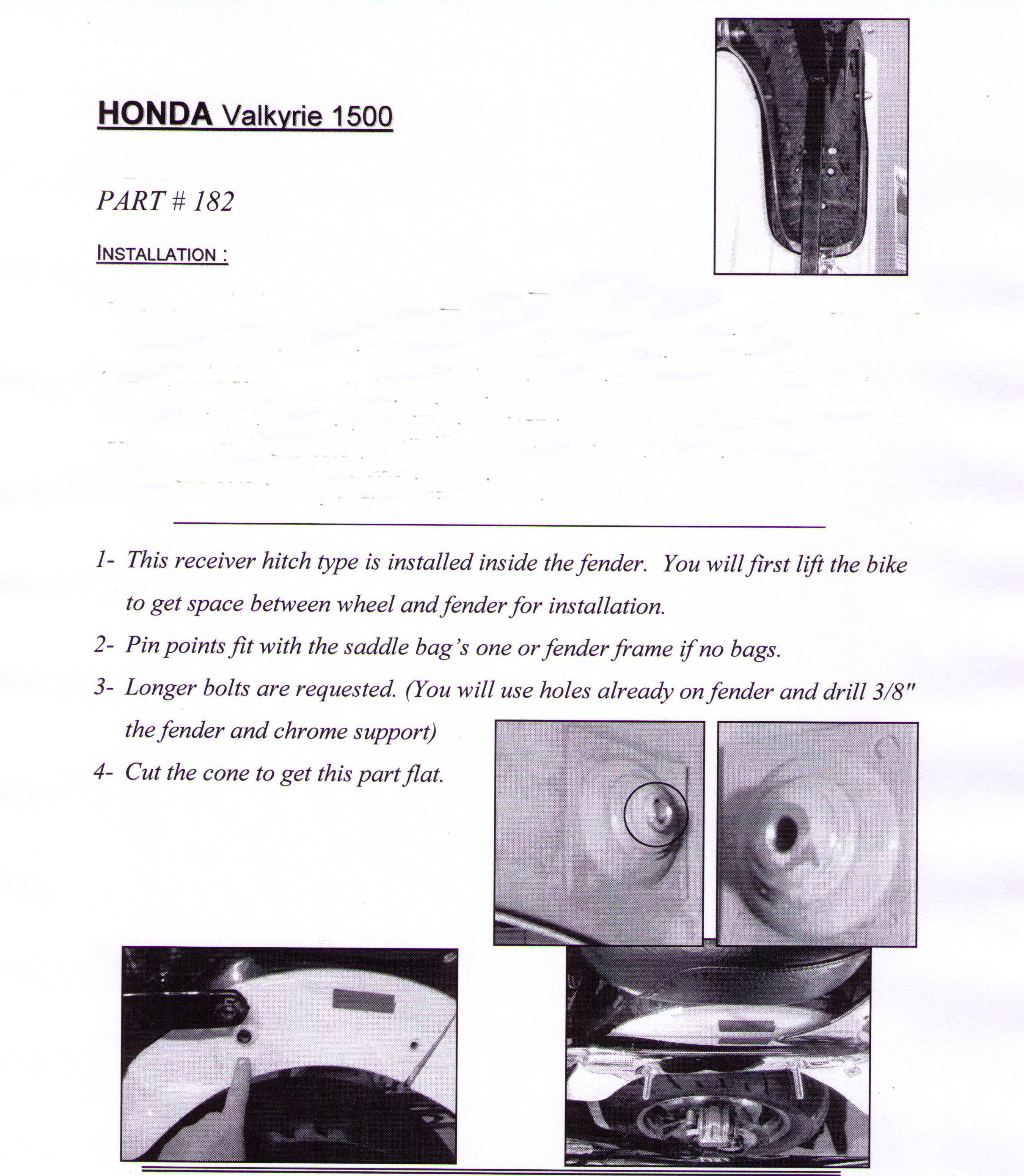 Installation Instructions Honda Valkyrie 1500