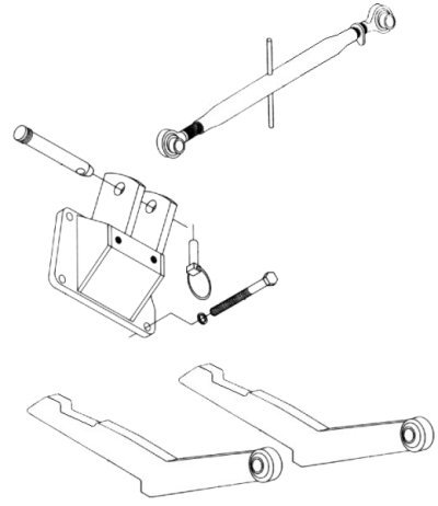 Two Point Hitch Conversion Kit To Category 1 Three Point Hitch For Various IHC/Farmall Tractors