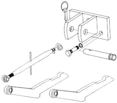 Two Point Hitch Conversion Kit To Category 1 (Model HK-726), Category 2 (Model HK-732) For IHC/Farmall Model 606