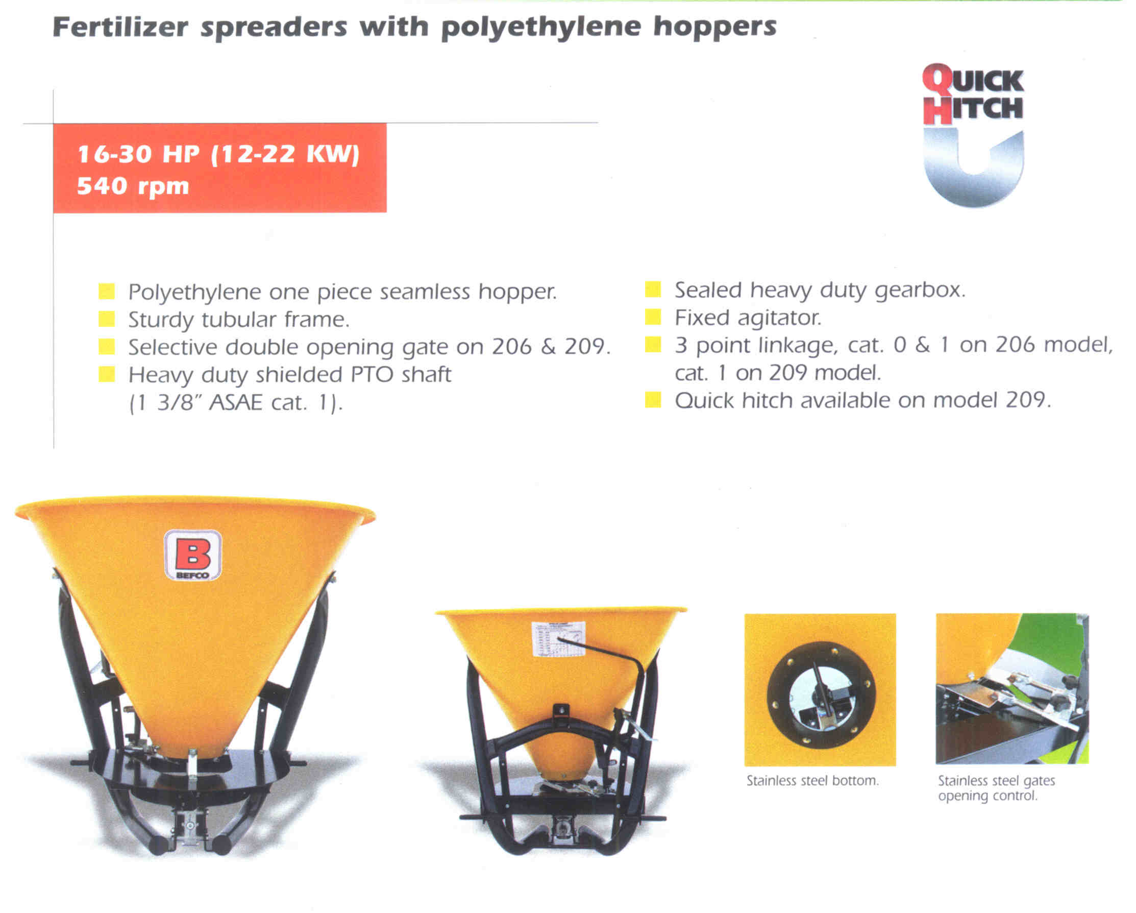 Befco Hop Spreaders With Polyethelene (Plastic) Hoppers