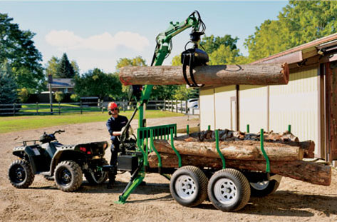 Timber Tallon Logging Trailer Set Up For Towing With ATV
