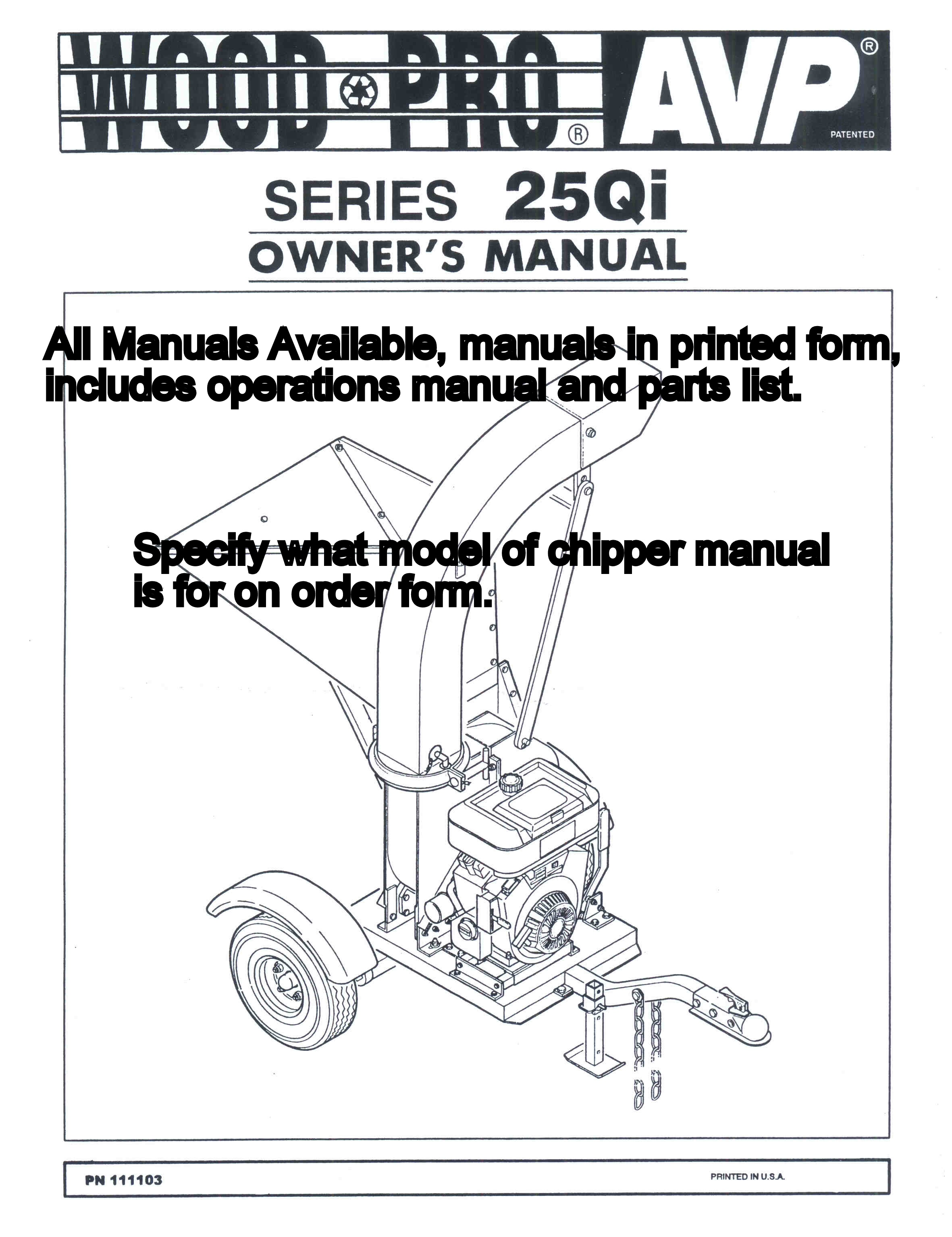 Operations And Parts Manual For Wood Pro Models