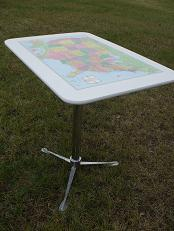 Photo Shows Optional Tripod (listed below, for using the table on the ground only, not needed for use in the campers)