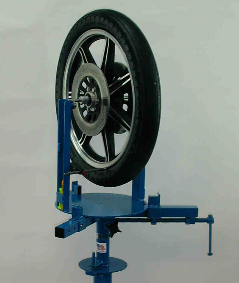 Wikco BMC112 Motorcycle Wheel Balancer With Tire, Mounted On Wikco MC110.100 Motorcycle Tire Changer