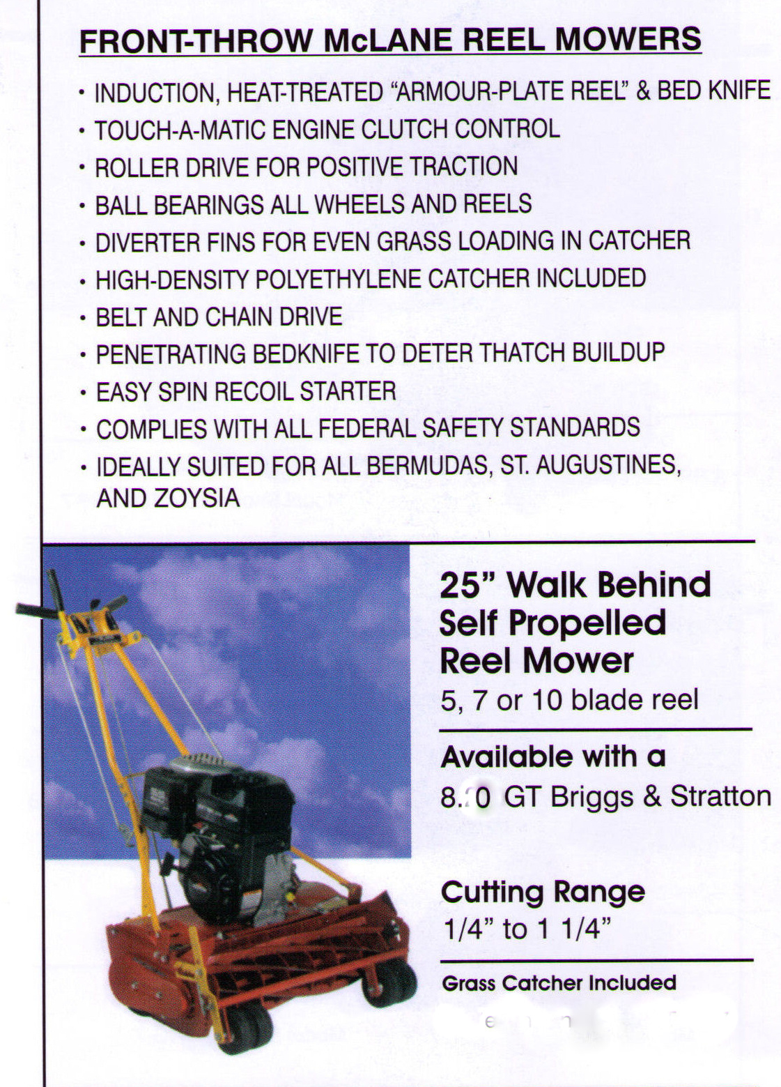 Features And Specifications Reel Mowers - 25 Inches Wide