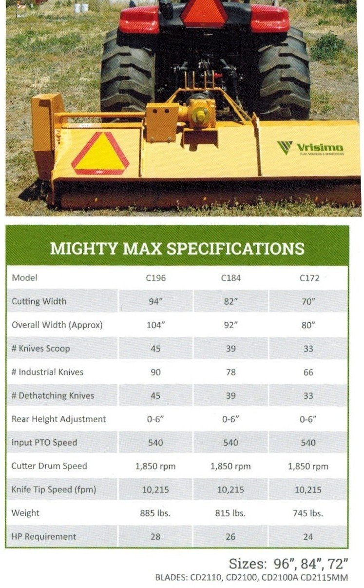 Mighty Max Flail Mower Specifications