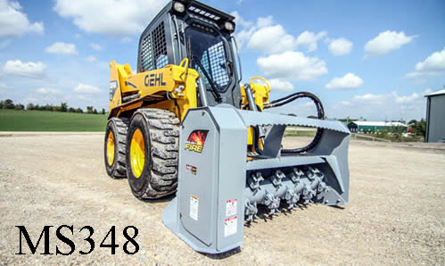 Skid Steer Mounted Hydraulic Brush Mulcher, Low Flows 12 To 20 GPM